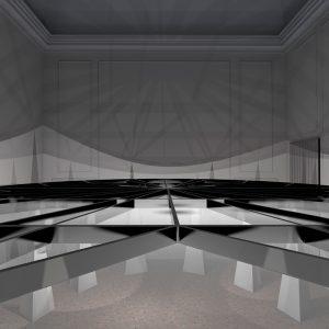 Rendering – Allestimento mostra di Fontana a Palazzo Forti Verona